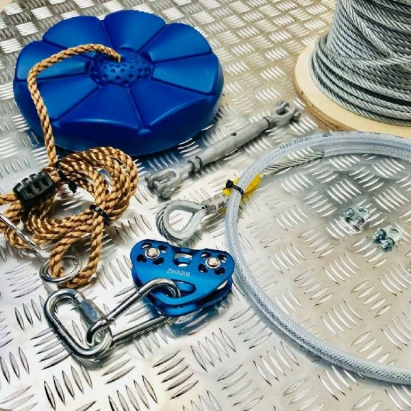 COMPLETE FULL DIY GARDEN / PLAY AREA SMALL ZIP WIRE FITTING / FIXING KIT 20m 8mm